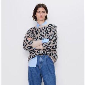NWT Zara | oversized leopard sweater